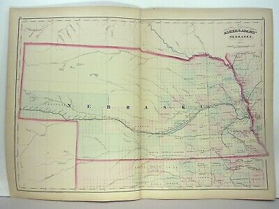 1872 ASHER & ADAMS ATLAS MAP of NEBRASKA WITH 2 GAZETTEER PAGES