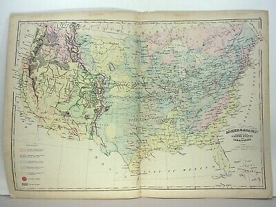 "1872 ASHER & ADAMS ATLAS ""GEOLOGICAL MAP of THE UNITED STATES and TERRITORIES"""
