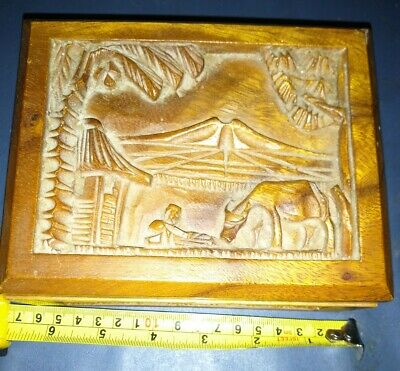 Vintage hand carved wood box,asian farmer ox 3 sided design, hinged lid wood box