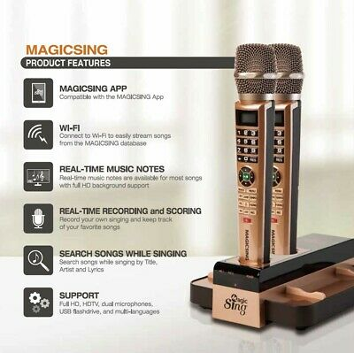 Magic Sing Smart Karaoke E5 - Wireless Dual Mics and Automatic Song Updates