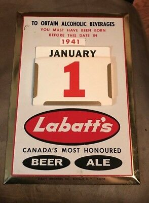 Vintage Labatt's Beer & Ale Toc Tin Over Cardboard Metal Sign Labatt Brg Canada