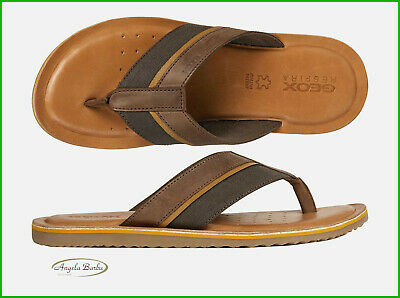 Sandals Men's Geox Flip-Flops Leather Slippers Leather Summer Shoes Artie Coffee
