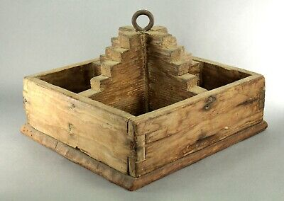 ^ Antique American Folk Art Dovetailed Wood Hanging Kitchen Utensil Tool Box