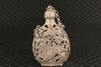 Chinese old Tibet silver hand carved hollow kylin snuff bottle collectable