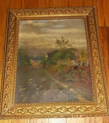 Early Antique Original Oil Painting VICTORIAN Folk Art Country Road Primitive