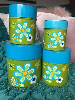4 Retro Vintage Flower Tin Canisters