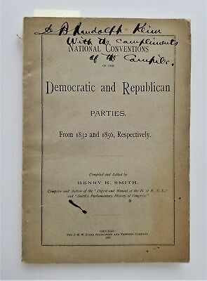 1832-56 antique POLITICAL NATIONAL CONVENTION HISTORY democrat republican SIGNED