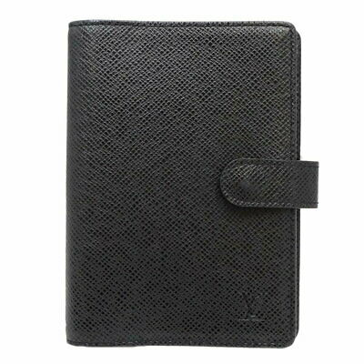 Auth LOUIS VUITTON Taiga Agenda PM Notebook Cover R20426 Ardoise Black /047084