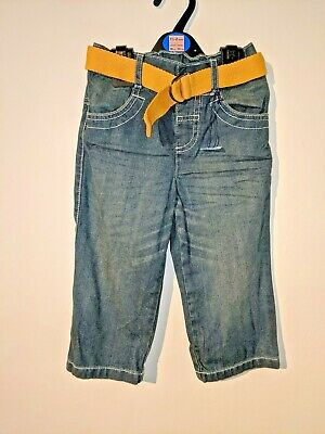 Boys Jeans Denim Blue Belt Trousers Bottoms Pants 2 3 Years