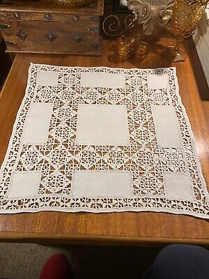 Antique 1910 Handmade Pure Linen Tea Cloth/Centerpiece~Insets~Drawn Work~Crochet