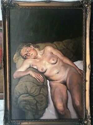 """1960s SCHOOL of  """"LUCIEN FREUD"""" OIL PAINTING ON PANEL - NUDE PORTRAIT PAINTING"""