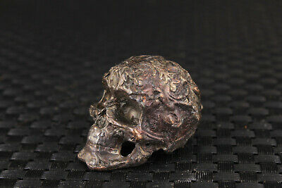 chinese old bronze hand skull man statue figure collectable table decoration