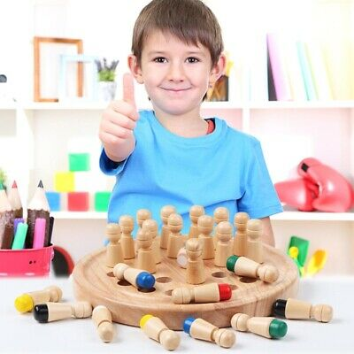 Wooden Chess Board Match Stick Blocks Memory Toys Educational Children Toy AU