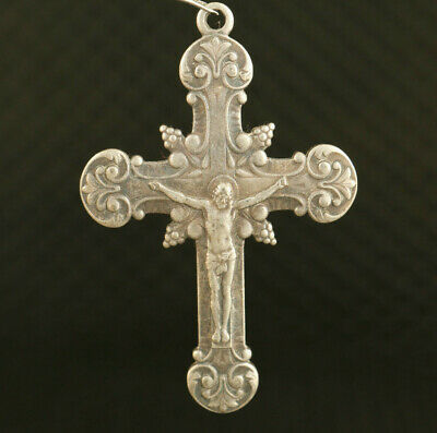 old Collection miao silver blessing cross Jesus Statue pendant netsuke amulet