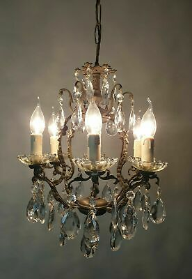 c1910 6 Arm Crystal & Aged Brass Chandelier; Rewired FREE DELIVERY