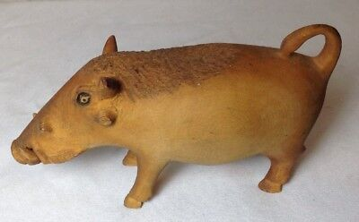Antique Rare Vivid Realistic Hand Carved Wood Wild Boar Pig Figurine Statue