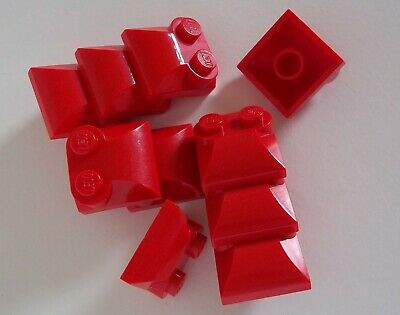 NEW Curved Slope End Lego 10x Red Brick Modified 2x2 Two Studs 47457