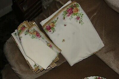 Vintage Royal Albert Old Country Roses Style Linen Napkins X 6