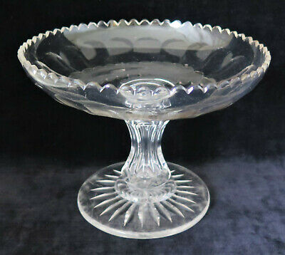 Antique New England Blown Cut Glass Compote