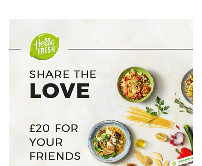Hellofresh Voucher Promo code coupon £20off Box food meal delivered at door/home