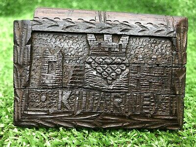 SUPERB 19thC IRISH BOG OAK WOODEN VESTA CASE WITH RELIEF CARVINGS c1880s