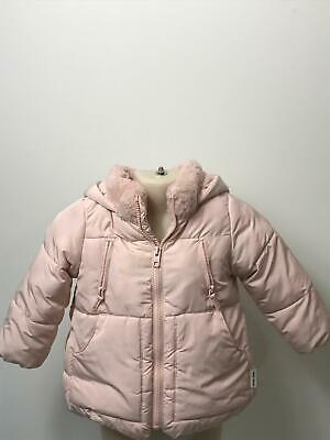 Girls Zara Baby Pink Hooded Warm Winter Coat Jacket Kids Age 18-24 Months