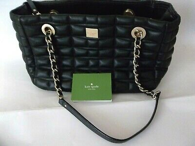 KATE SPADE NEW YORK Black Quilted Leather Chain Shoulder Bag Size Medium