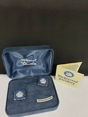 Vintage England Wedgwood Ship Blue White Jasperware Cufflink Set. square! NEW!!!