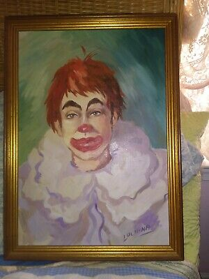Vintage  Signed LUCIANA  Oil on Board Clown Painting deco art modern folk