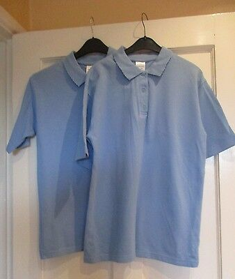 "Girls pale blue sportswear tops "" AGE 12/13 ."" ( SET OF 2 ) school wear."