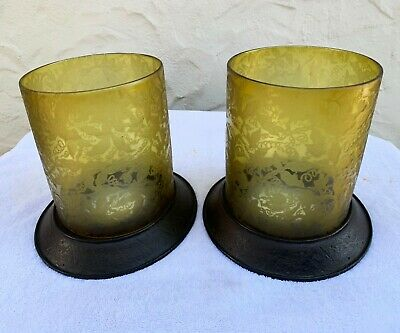 Large Table Candle Holder. Iron base with Antique/Vintage Etched Amber Glass