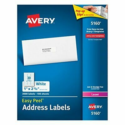 `Avery Easy Peel White Address Labels For Laser Printers (1`` X 2 5... ACC NEW