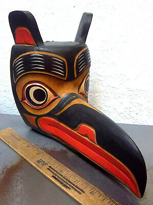 Wood Tribal Style RAVEN Mask hand carved & hand painted, beautiful! 9 x 8 x 5.5
