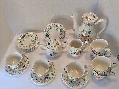 Country French Ironstone Tea Set, Tea Pot, Creamer, Sugar, Cups And Saucers