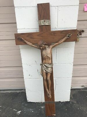 Vintage large hand carved wooden crucifix By master artist