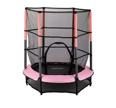 WestWood Children's Mini Trampoline With Safety Net – 4.5FT Kids Rebounder Pink