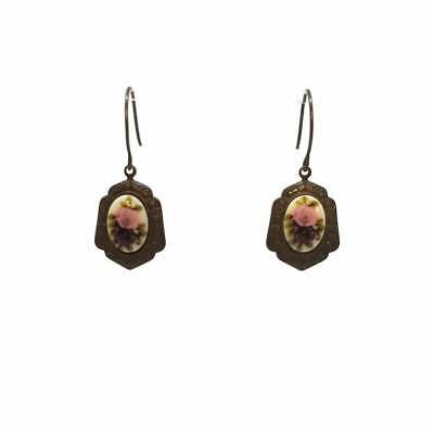 Petite Pink & Purple Roses Victorian Style Earrings, Nickel Free Chocolate Brass