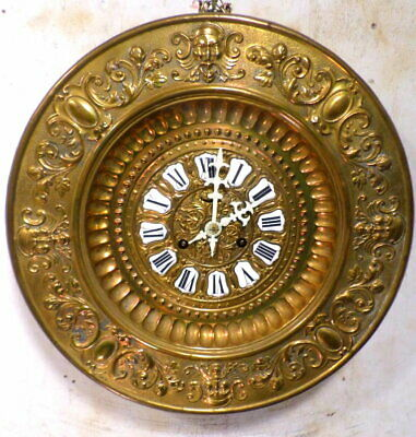 1890 Large Round Brass Ansonia Gallery Clock With Porcelain Cartouche Numbers
