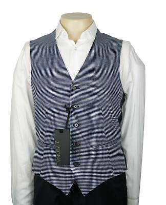 NWT Z Zegna Blue and White Check Drop 8 Waistcoat Vest Cotton Wool NEW Size 38 R
