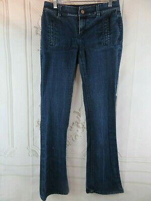 Ann Taylor Womens Denim Blue Jeans Size 4 Signature Fit Flare Low Rise Dark Wash