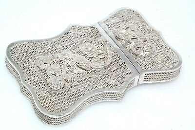Antique Chinese Silver Filigree Calling Card Case Cigarette