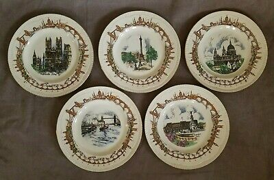 """(5) Clarice Cliff Rare Newport Pottery Plates of London England 10.5"""""""