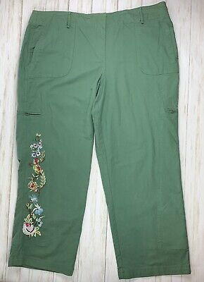 NY COLLECTION Womens Sz 24 Embroidered Floral  Color Olive Green Cargo Pants