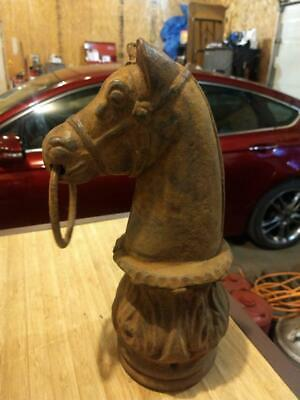 Antique Heavy Cast Iron Horse Head Hitching Post  Fence Topper Old