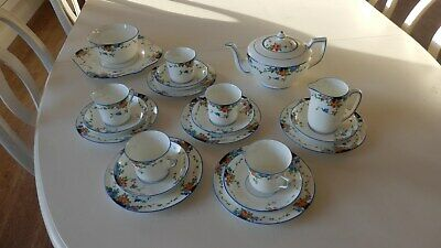 Gladstone Hand Painted and Enamelled Floral Pattern Vintage Bone China Tea Set