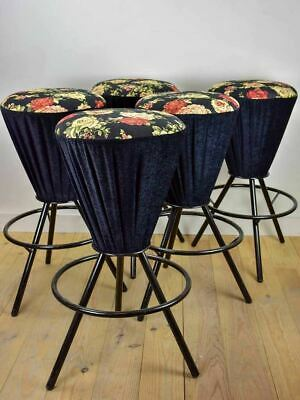 Set of five vintage Italian bar stools with black floral upholstery