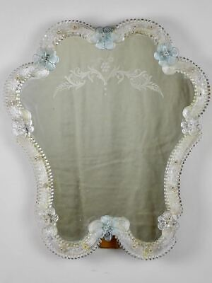 """Vintage Venetian style mirror with blue flowers and etchings 18½"""" x  15¼"""""""