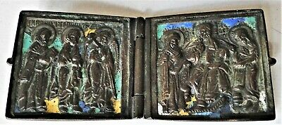 Antique Russian Orthodox Christian Bronze & Enamel Diptych Travelling Icon 1780