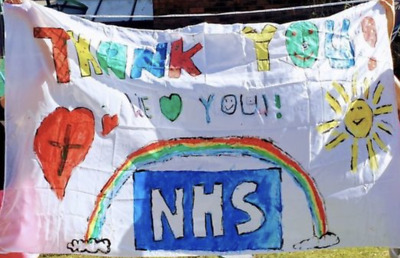 PLAIN WHITE FLAG LARGE 5 x 3 FT - Paint Draw Your Own Custom NHS Thank You Flag