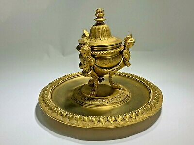 Antique Louis XV  French Gold Gilt Bronze Inkwell 1880's by Delarue Paris France